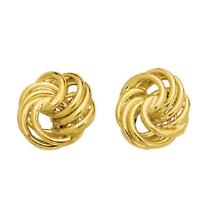 14K-Yellow-Gold-Shiny-Textured-4-Row-Love-Knot-Stud-Earrings-10mm