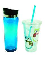 11598 S/2 Cupssnowy Owl W/scarf W/strawblue Insulated Travelcoffee Water Tea