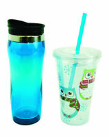 11598 S/2 Cupssnowy Owl W/scarf W/strawblue Insulated Travelcoffee Water Tea