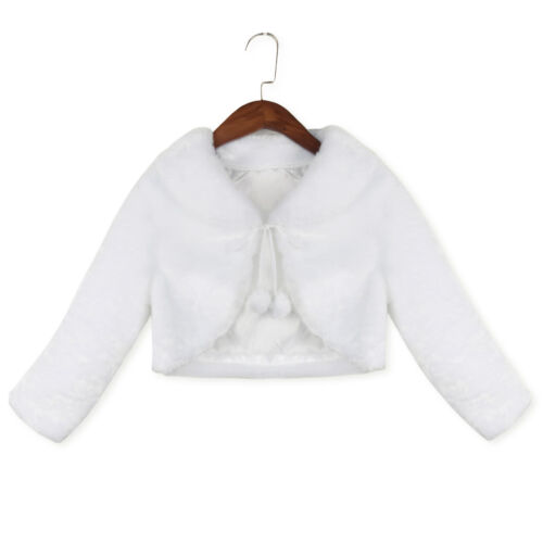 Girl Kids Faux Fur Bolero Shawl Wrap Shrug Jacket Cloak Cape Party Pageant Coat