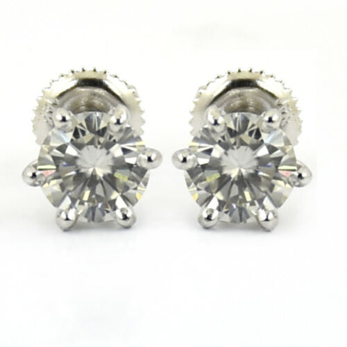 3ct Certified Earth Mined Off White Diamond Solitaire Studs in 6 Prong Setting !