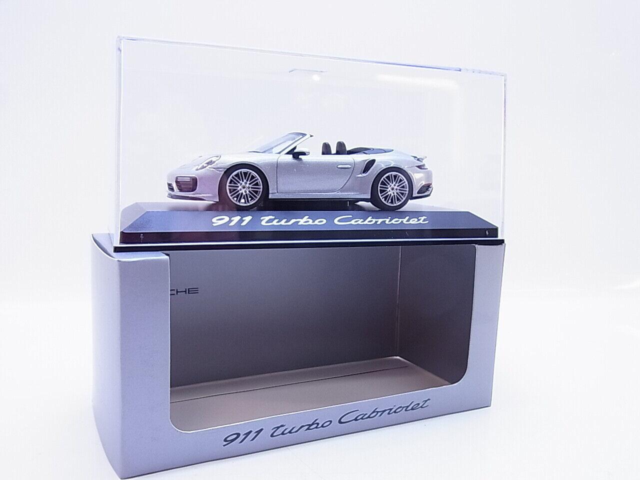 55327 Herpa Porsche 911 turbo Cabriolet Modellauto Typ 991 silver 1 43 NEU OVP