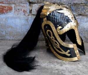 Medieval Warrior Normal Viking Hussars Dragon Helmet With Plume 18 Gauge