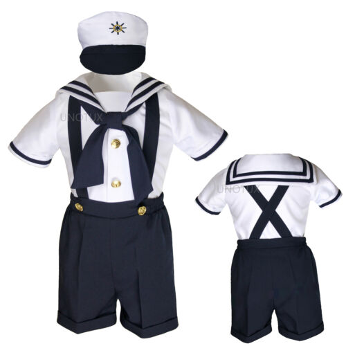 New Baby Boy Toddler  Formal Party Nautical Sailor Navy or White Shorts Outfit
