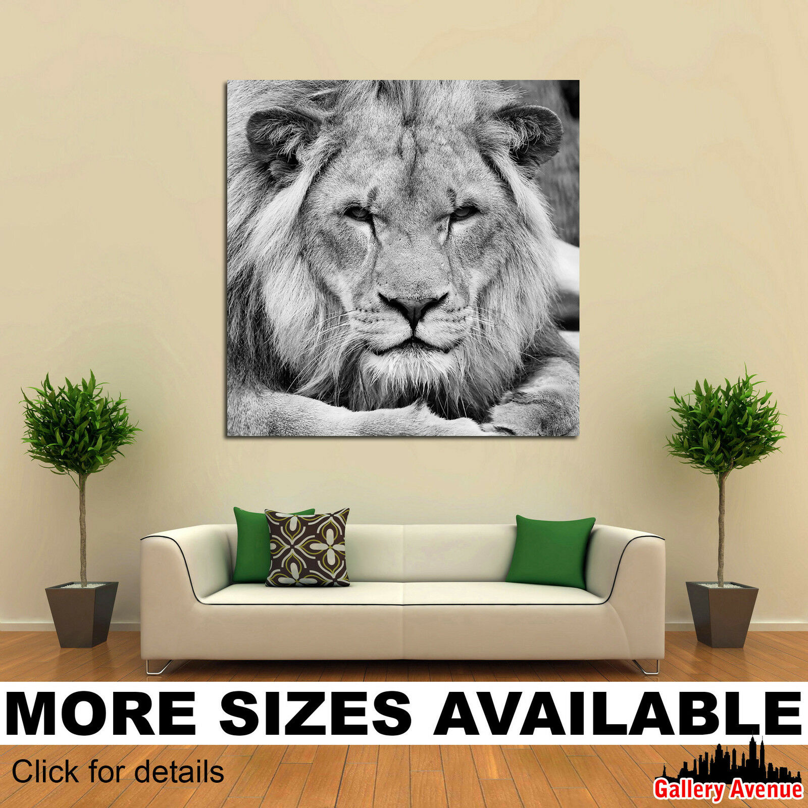 Wall Art Canvas Picture Print - African Lion Portrait bw 1.1