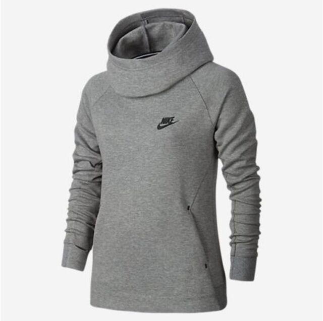 ee72b0bb117b Nike Girls Medium M 10 12 Tech Fleece Hoodie Dark Grey Solid Heather 679215