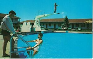 Details about Postcard MI South Haven Fidelman\'s Resort Swimming Pool  Diving Board VTG Chrome
