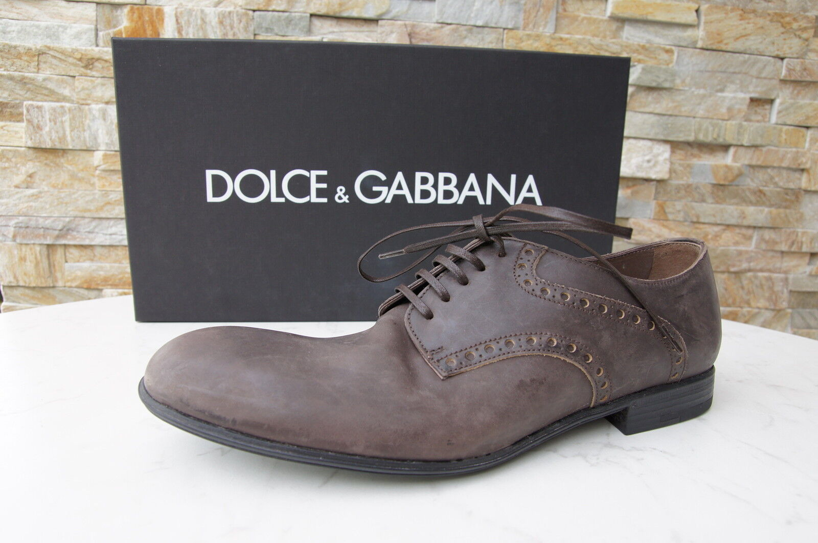 Dolce & Gabbana D&G Gr 44 Halbschuhe Schnürschuhe Kalbsleder Schuhe neu UVP 375