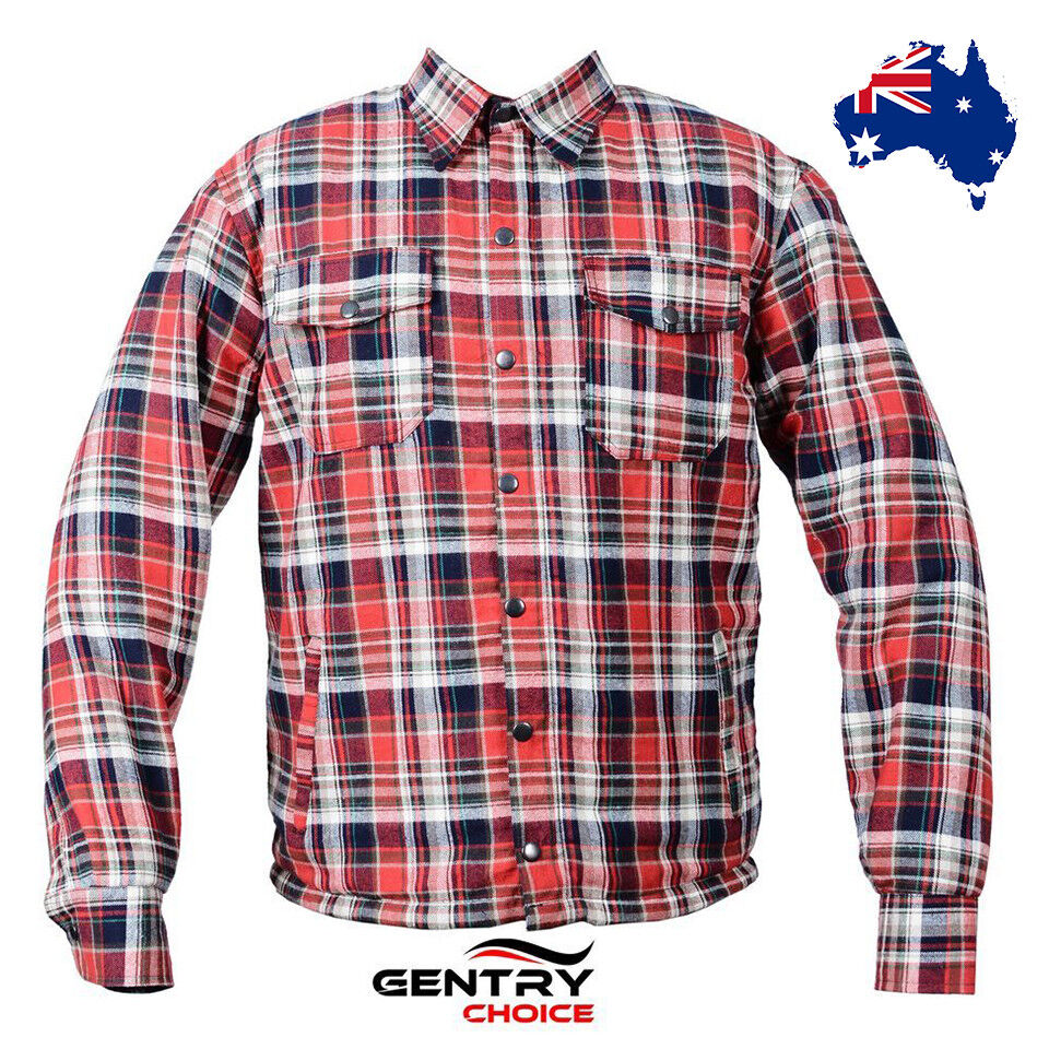 f1c1f467 Details about Men's Motorcycle Riding Shirt Flannel Reinforced with Kevlar®  Red Black Armored
