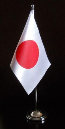 Japan Satin Desk Table Flag with Chrome base and pole