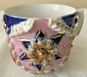 2 Vintage German Pink Lusterware Demitasse Cups & 1 Saucer Blue Star & Gold Edge