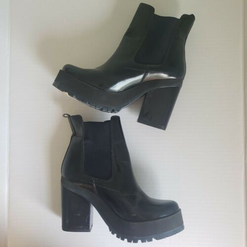 Miista Chunky Leather Black and Blue Boots Size 39