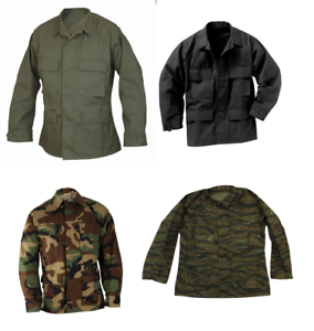 MADE-IN-USA-BLACK-WOODLAND-CAMO-OD-GREEN-TIGER-STRIPE-BDU-CARGO-SHIRT-MILITARY