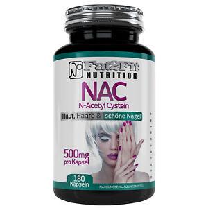 NAC-N-Acetyl-Cystein-180-Kapseln-je-500mg-Haut-Haare-Naegel-Fat2Fit-Nutrition