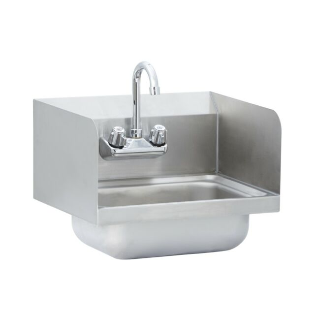 Stainless Steel Commercial Wall Mounted Hand Sink With Side Splash