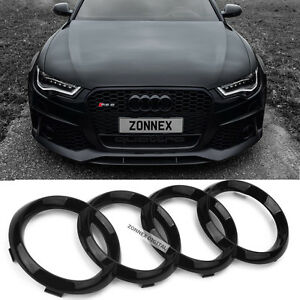 New Black Gloss Front Grille Badge Ring Logo Emblem Audi