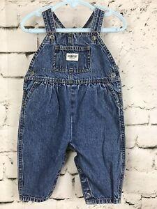 Oshkosh-Vintage-Baby-Girl-Cotton-Denim-Bubble-Fit-Vestbak-Overalls-6-9-M-USA