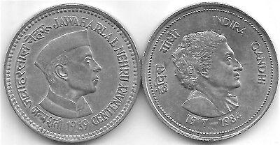 1 each on J.L India SET of Rs 5 Big coins Nehru 1989 /& Indira Gandhi,1985.