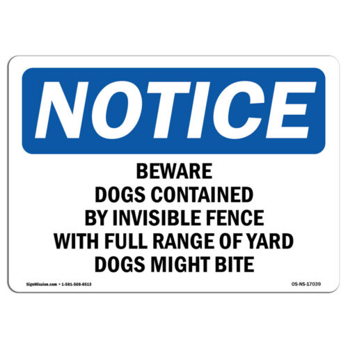 OSHA-Beware-of-Dog-Sign-Heavy Duty Sign or Label OSHA Notice