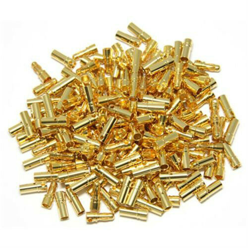 50pairs 3.5mm Gold Bullet Connector plug Align Trex 450 250 Male Female 3MM