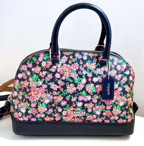 F57621 NWT Coach Mini Sierra Satchel Posey Cluster Floral Print Coated Canvas