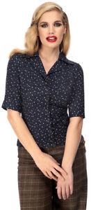Rockabilly Colletto Punkte Aubrey Bluse Speckled Effetto Vintage Camicia Colletto vwRqpZw8