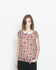ZARA women's large chiffon red floral blouse with peter pan collar NWT