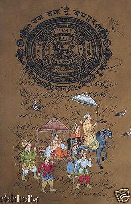 Royal Queen pintura hecha a mano ilustraciones animales elefante Horse Art India