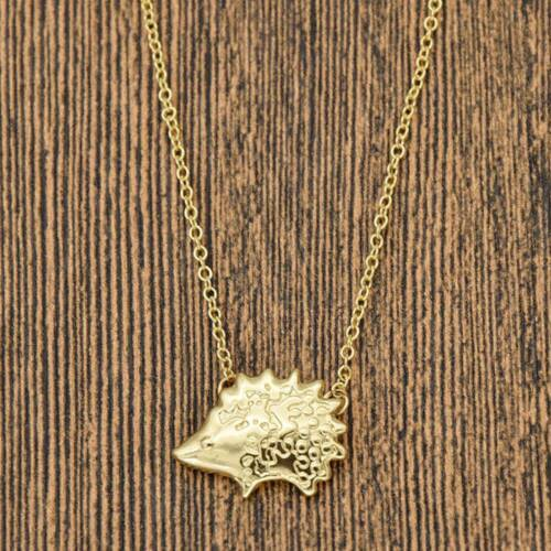 Silver Golden Charm Necklace Cute Hedgehog Pendant Slim Collarbone Jewelry Gift