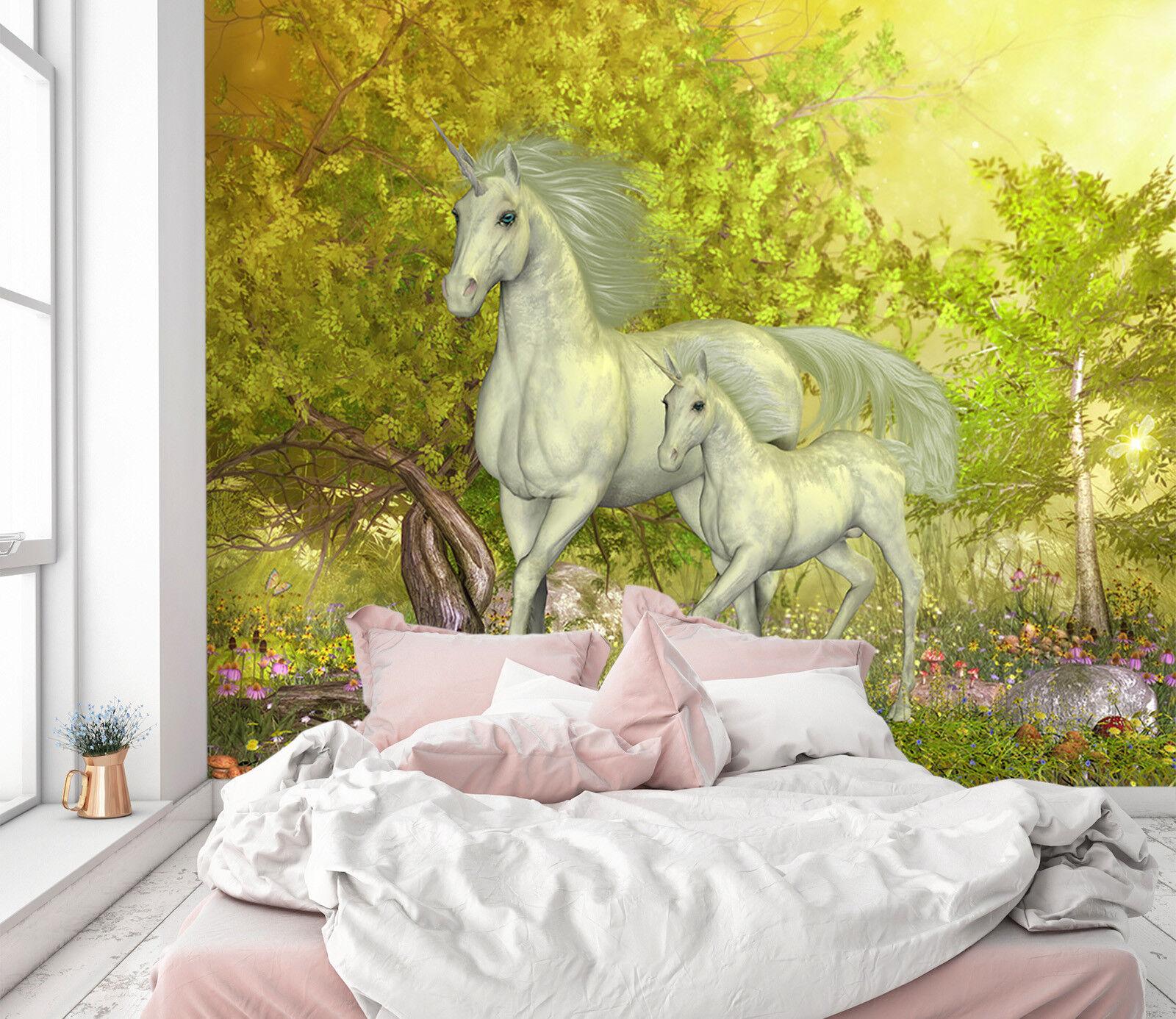 3D Grünes Wald Einhorn 22 Tapete Wandgemälde Tapete Tapeten Familie Kinde DE