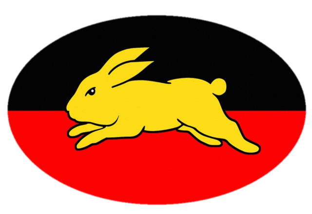 3 X South Sydney Rabbitohs Aboriginal Flag Vinyl Bumper Sticker