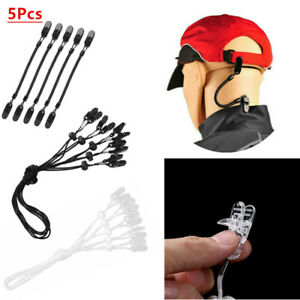 US /_5x Hat Clips Cap Retainer Fishing Apparel Keeper Holder Coiled Cord Flexible