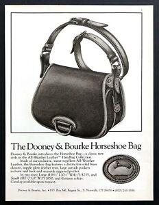 """1985 Dooney & Bourke Horseshoe Bag Illustration """"Classic Style"""" vintage print ad"""