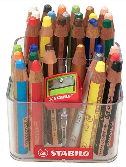 32 Stabilo woody 3 in 1 Buntstifte mit Stiftehalter + Spitzer, Kindergarten Box | Genialität  | Kaufen  | Günstige Bestellung