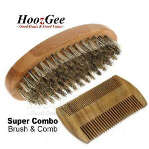Gents-Mens-Boar-Bristle-Shaving-Moustache-Beard-Brush-And-Comb-Set-Kit-Wooden