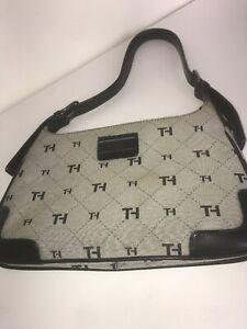 TOMMY-HILFIGER-Black-Gray-Signature-TH-Print-Purse-Hobo-Bag-11-5-X-7