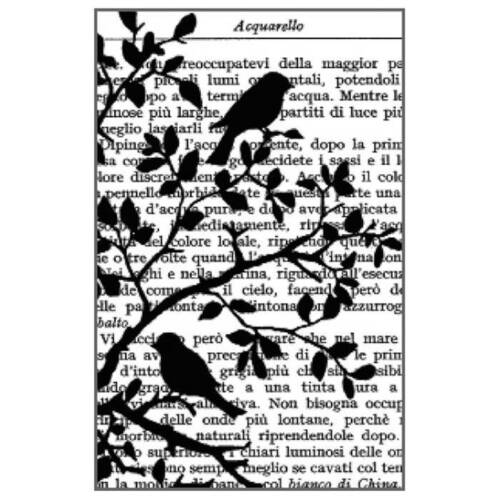 Stamperia Newspaper Writing Rubber Stamp or Stamperia Birds in Tree Rubber Stamp