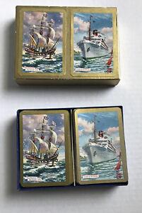 VTG-Nautical-Souvenir-Playing-Cards-Queen-Bermuda-Sea-Venture-Ship-Jokers-W-Box