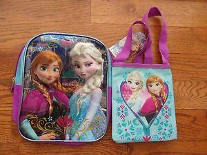 FROZEN Girls School Book Bag MINI BACKPACK ANNA ELSA Disney Purple ... 6370a31c46