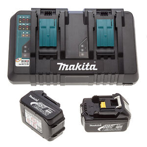 Makita-DC18RD-LXT-twin-port-rapid-charger-USB-230v-2-BL1830-Batteries