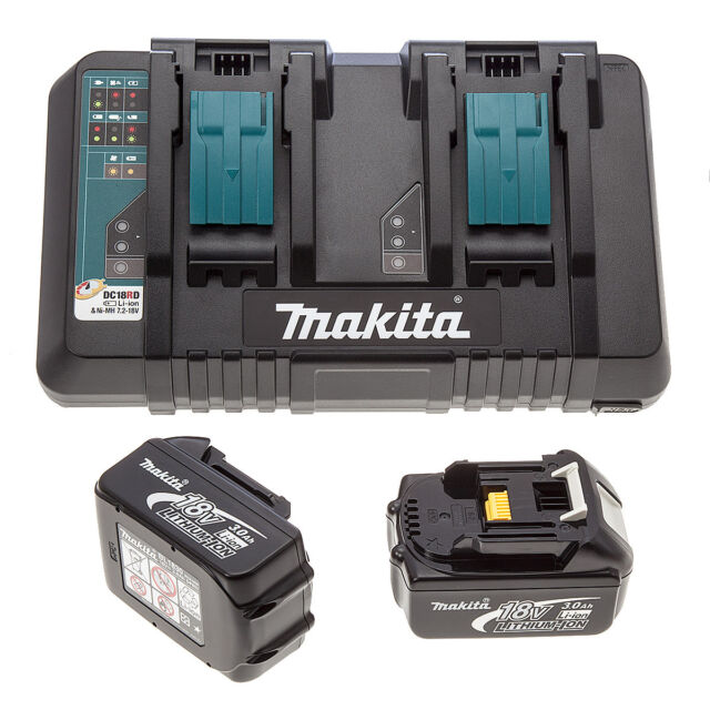 Makita DC18RD LXT twin port rapid charger + USB 230v + 2 BL1830 Batteries
