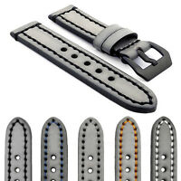 Strapsco Vintage Watch Band In Gray W Contrast Stitching W Black Pre-v Buckle