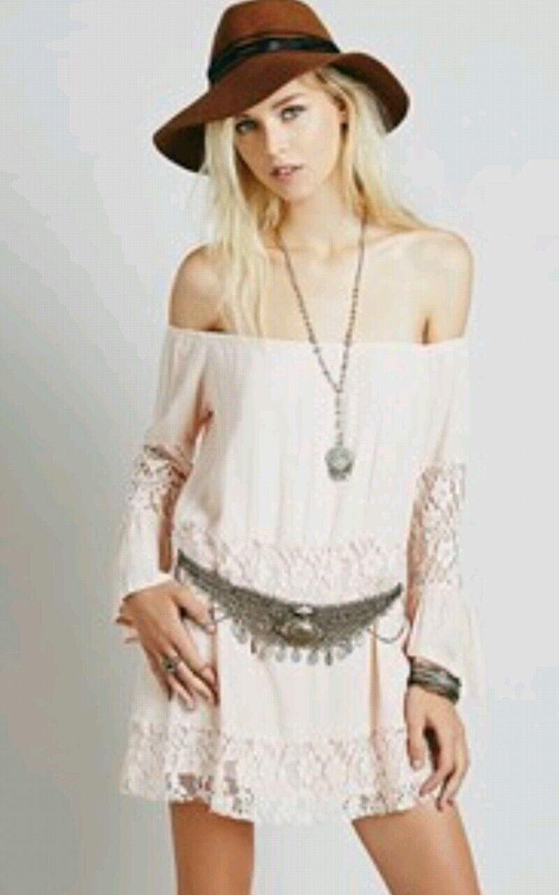 NEW Free People Crinkled Gauze Off the Shoulder Top   Dress  Bell Sleeve XS