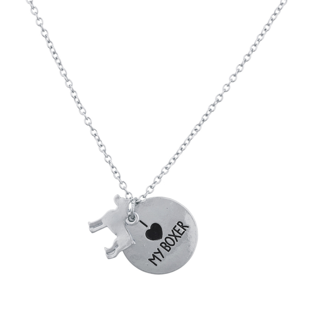 Lux Accessories Silvertone I Love My Yorkie Dog Lover Verbiage Charm Necklace