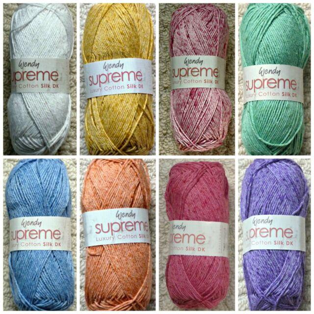 3 x 100g Wendy Supreme Luxury Cotton D//K Wool//Yarn for Knitting//Crochet