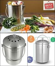 Compost Bin 1.3 Gallon Capacity Stainless Steel lid Kitchen Tools Gadgets Dining