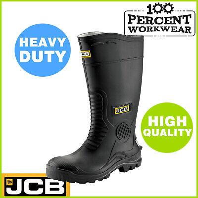 Hard Wearing Tough Black Work Safety PVC Wellington Boots Wellies Steel Toe Cap