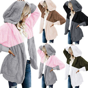 Women's Spliced Oversized Coat Open Front Hooded Pockets Cardigan Coat JacketsCA