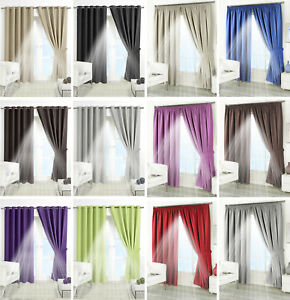 Details about Supersoft Thermal Blackout Curtains - Bedroom Curtain Black  Silver Purple Beige