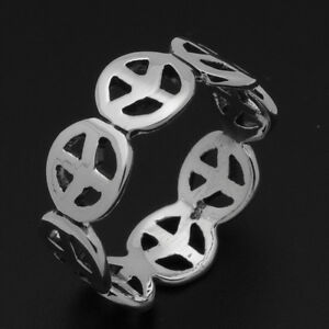 925-Sterling-Silver-Peace-Sign-Band-Ring-6-7-8-9-High-Polish